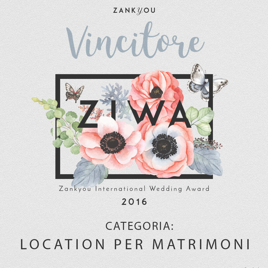 Vincitore Zankyou ZIWA 2016 categoria location per matrimoni